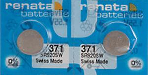 2-x-Renata-371-Watch-Batteries-0-MERCURY-equivalent-SR920SW-Swiss-Made