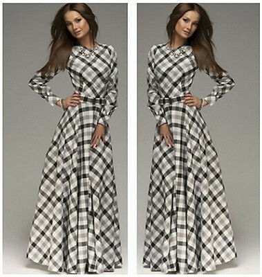 Women's Summer Boho Plaid Striped Long Maxi Evening Cocktail Party Chiffon Dress