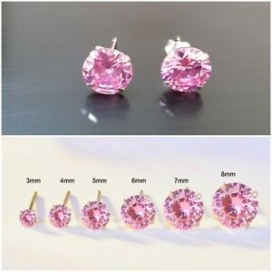 0e4a0ef2b542e Details about 925 SOLID STERLING SILVER ROUND STUD EARRINGS PINK CUBIC  ZIRCONIA EARRINGS CZ
