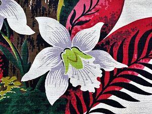 Deco Tropical Rainforest Barkcloth VIntage Fabric Pillow Bags Remnant 30's New