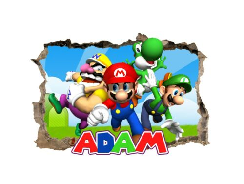 Details about  /Personalised Any Name Mario Design Wall Decal 3D Sticker Vinyl Room Bedroom 74