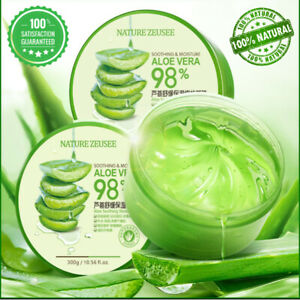 Organic Aloe Vera 98% Gel Nature Pure Extracts Soothing Moisture Hydrating 300ML