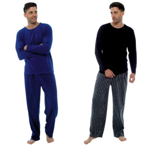 Sizes M-XXL Mens Plain Top Square Check Pants Fleece Long Pyjamas//Lounge Set