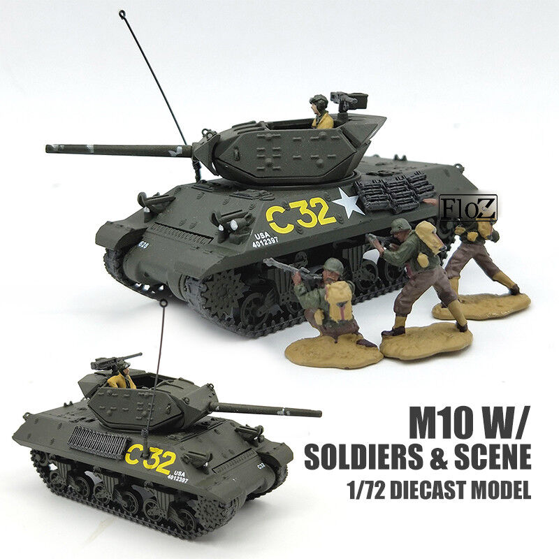 WWII USA M10 W  SOLDIERS & SCENE 1 72 DIECAST MODEL FINISHED TANK FOV