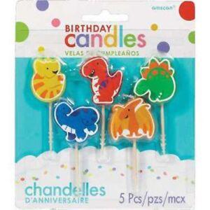 Image Is Loading 5 DINOSAUR CAKE CANDLES DECORATIONS BOYS BIRTHDAY