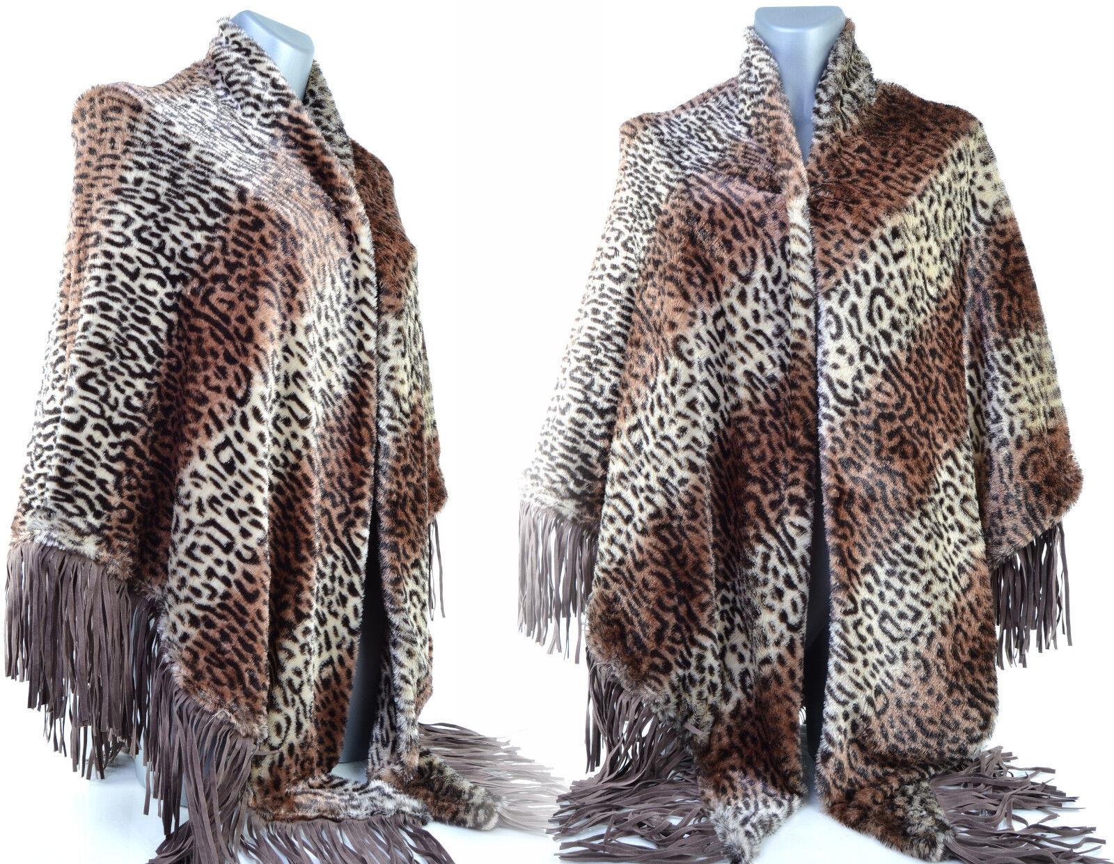 Poncho Femme CAPE Grande size 48 50 52 54 56 58 60 brown Léopard ZAZA2CATS
