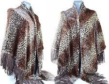 Poncho Femme CAPE HAUT Ample GRANDE Taille 48 50 52 54  MARRON LEOPARD ZAZA2CATS