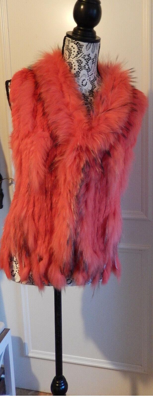 Pelz Weste lachsfarben  Kanin Murmeltier L XL  salmon colourotRabbit Marmot