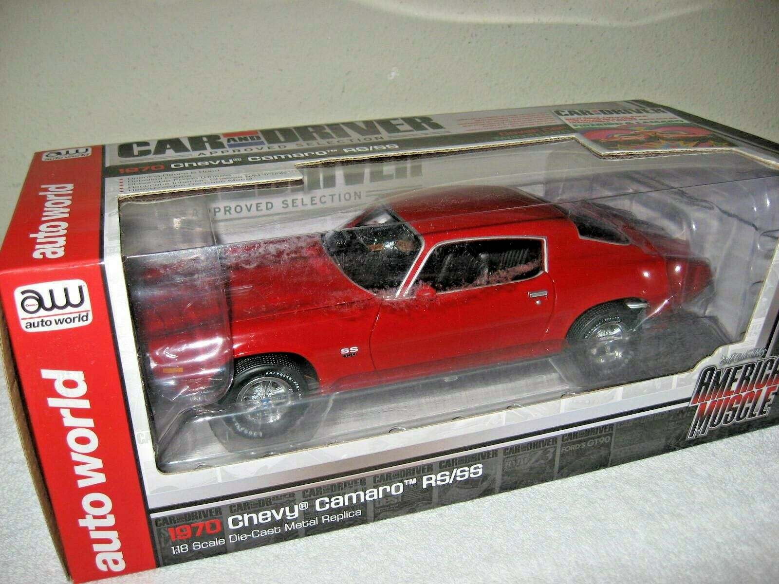CAR & DRIVER COVER CAR 1970 CHEVY CAMARO RS SS 350 RED  AUTO WORLD ERTL 1 18