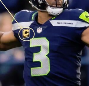 4c387630 Details about NFL WEST SEATTLE SEAHAWKS Russell Wilson QB FOUR-STAR⭐  4-⭐GOLD CAPTAINS PATCH
