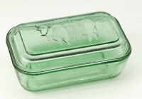 Green Glass Cow Butter Dish Country Ice Green Depression Style Oversized