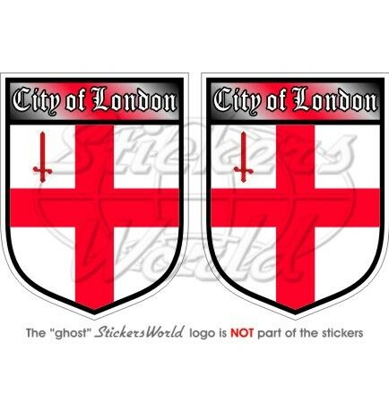 "3/"" Bumper Stickers-Decals x2 City of LONDON Britain ENGLAND British Shield 75mm"