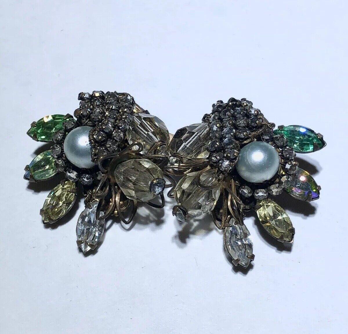 Vintage glass rhinestone crystal pearl filigree h… - image 3