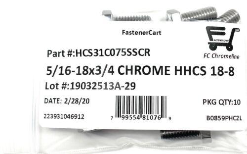 10 5//16-18x3//4 Chrome Stainless Steel Hex Cap Screws Chrome Hex Bolts 18-8