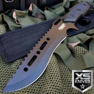 "12"" TACTICAL COMBAT SURVIVAL Rambo Full Tang FIXED BLADE KNIFE Hunting w/ SHEATH"