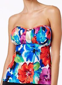 Swim-Solutions-Size-12-Black-Floral-Bandeau-Tankini-Swimsuit-TOP-W-Straps-NWT