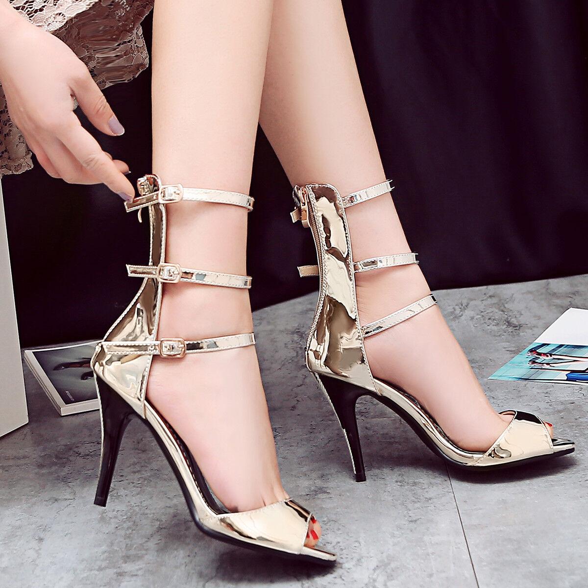 Women Gladiator Roman Sandals Plus Size Strappy High Heels Stilettos Pumps shoes