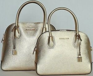 33494ae63be9 MICHAEL KORS STUDIO Mercer LG MD Pale Gold Dome Leather Satchel NWT ...