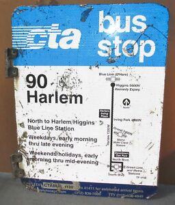 Vtg-2-Sided-CTA-Bus-Stop-90-HARLEM-Chicago-Aluminum-Sign-24-x-18-S601