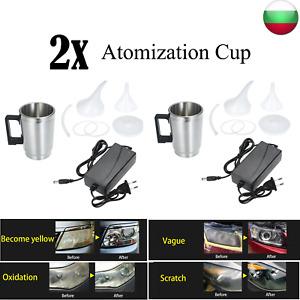 2 pcs Kit di pulizia Lucidatura Ripristino fari auto Opacizzati Ingialliti F6E1