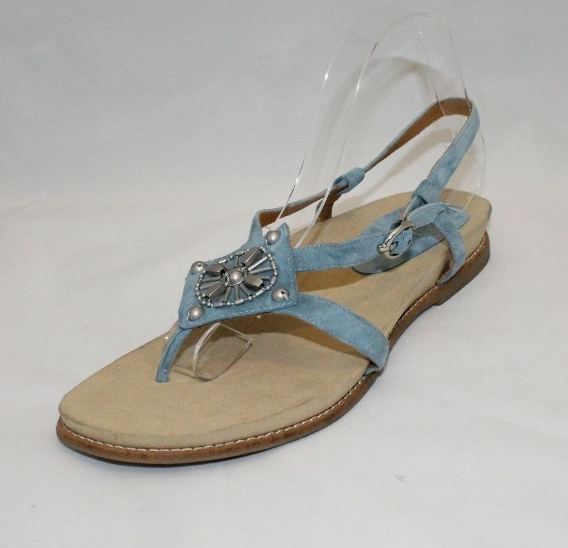 Earthies By Earth Tello Pacific bluee Leather Beaded Slingback Sandals 11 B