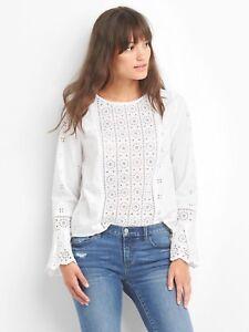 Gap Womens 908376 Bell Sleeve Eyelet Shirt Blouse Top 89 95 New Xs