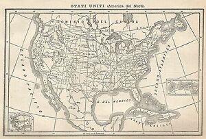Cartina Geografica Degli Stati Uniti Di America.A2937 Stati Uniti America Del Nord Carta Geografica Antica 1910 Old Map Ebay