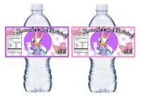 20 Daisy Duck Personalized Birthday Party Favors Water Bottle Labels Wrappers