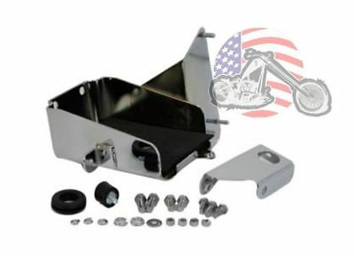 Battery Box Carrier Mount Chrome Iso Rubber XLH Electric Start Ironhead Harley