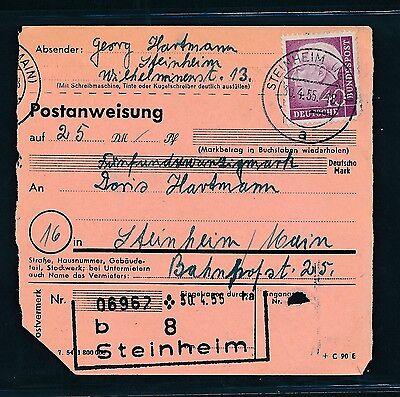 Frank 04824) Heuss Postanweisung Ef 40pf Steinheim (main) Im Ortsverkehr