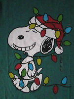 Snoopy With Santa Hat Decorated With Lights Holiday Green T-shirt