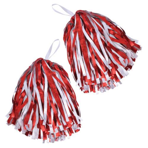 Lot de 2 rouge /& blanc pom-pom girl pompons high school football américain