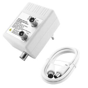 DVB-C-Antennen-75Ohm-Koaxial-digital-Verteiler-Verstaerker-Dose-2-Stecker-m-Kabel