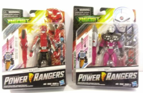 """Power Rangers LOT Red Ranger and TRONIC Beast Morphers Basic 6/"""" Action Figure"""