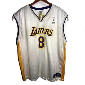 Kobe Bryant #8 LA Lakers Reebok Sunday White Basketball Jersey Men ...