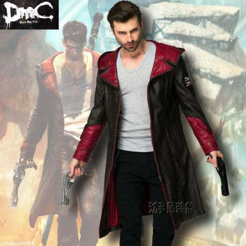 Unisex/'s Devil May Cry Dante Cosplay Costume Jacket coat  Free shipping