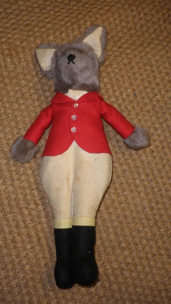 Vintage Juguete Relleno equipo de caza del zorro vestida con llamativos, abrigo rojo y botas