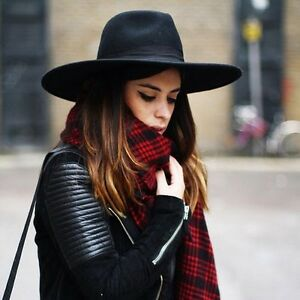 Details about Women s Triangle Dent Crown Hat Luxury Wide Brim Black Wool  Felt Fedora Bow 256acd45ffe
