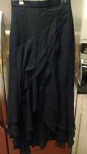 NWT ST. JOHN - Marie Gray Evening  Black Ruffle 100% Silk Chiffon Long Skirt 4