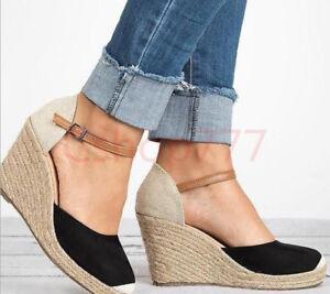 Womens-Ankle-Strap-Platform-Wedge-Sweet-Round-Toe-Sandals-Espadrille-Shoe-19-New