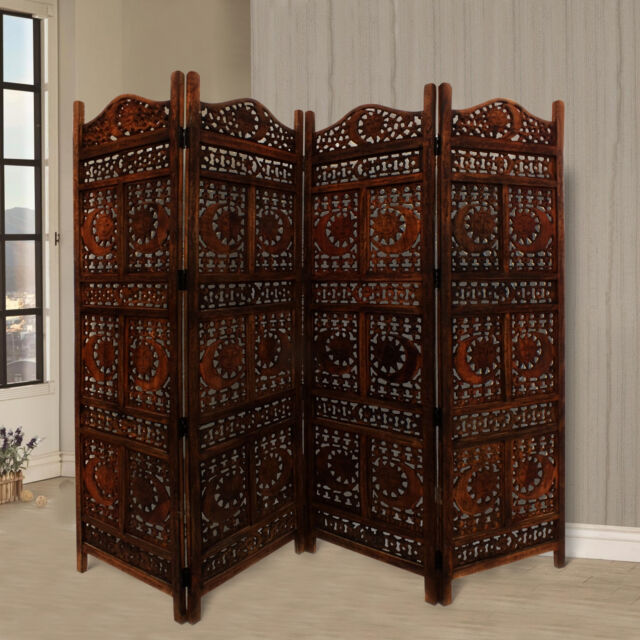 4 Panel Hand Carved Indian Screen