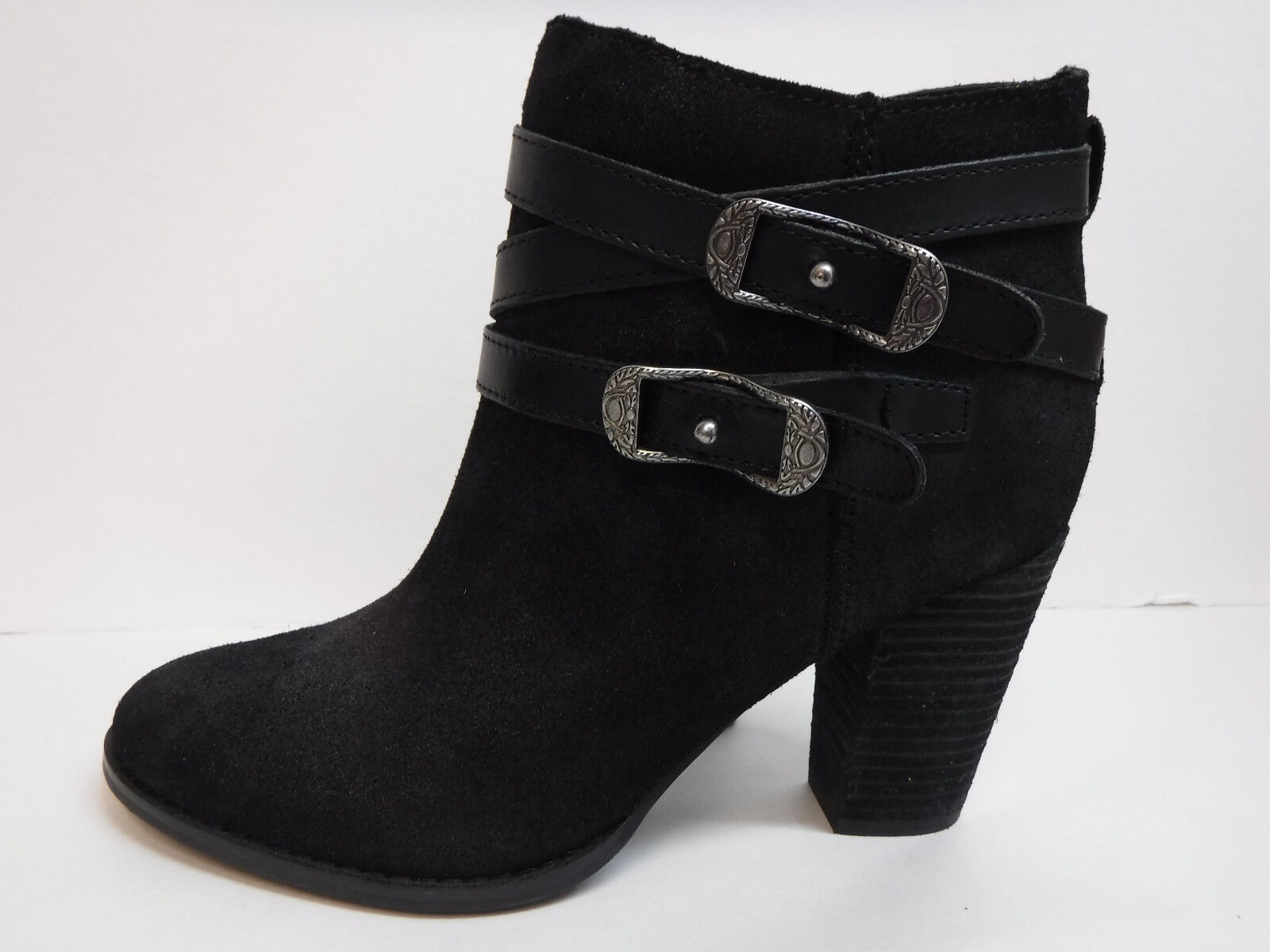 Reba Size 7.5 Black Leather Ankle Boots New Womens Shoes