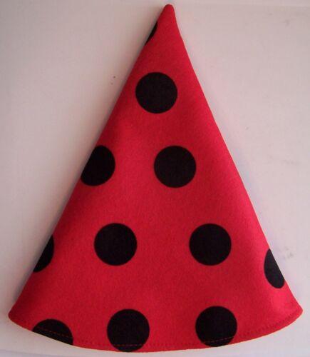 NEW! Red Ladybug Gnome Elf Dwarf Birthday Party Gift Hat Mardi Gras Caps