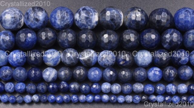 "Natural Sodalite Jasper Gemstone Faceted Round Beads 4mm 6mm 8mm 10mm 12mm 15"""