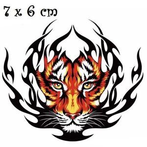 Details Sur Patch Applique Dessin Transfert Thermocollant Tete De Lion Tigre Feu T127