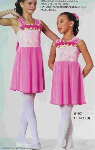 Lyrical Dance Costume Pink Artstone Ballet or Ballroom Dress Graceful
