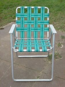 Image Is Loading ALUMINUM FOLDING WEBBED LAWN CHAIR MID CENTURY GREEN