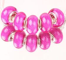 5pcs SILVER MURANO bead LAMMWORK fit EuroMean Charm Bracelet #D61