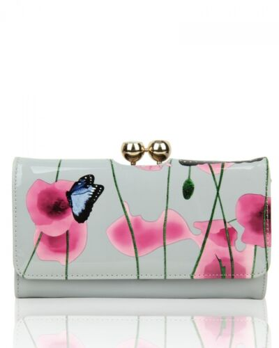 New Women/'s Patent Poppy Butterfly Patterned Hand Bag With Ribbon Belt Details