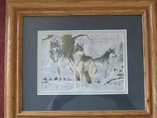 Wolf family photo in frame - colored photo with blue matting